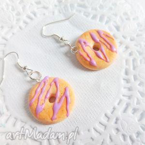 hand-made kolczyki kolczyki - donuty z lukrową polewą