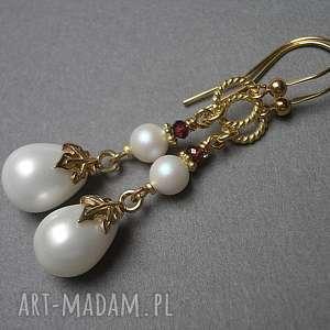 Perłowe krople - kolczyki, srebro, pozłacane, perły, majorka, swarovski,