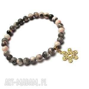 Alloys Collection /flower/ bransoletka, jaspis, stal, szlachetna, pozłacane