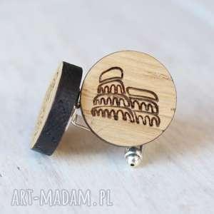 Drewniane spinki do mankietów coloseum rzym ekocraft spinki