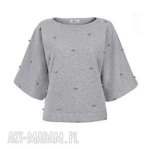 bluzy bien fashion szara krótka bluza damska srebrne kuleczki s, m, l, kimono