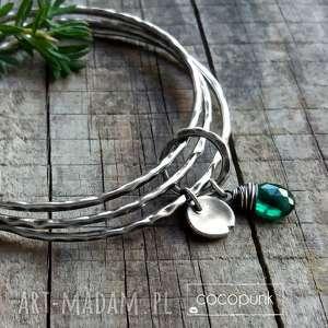 zestaw 3 bransoletek - srebro i kwarc rama green - srebrne bransoletki