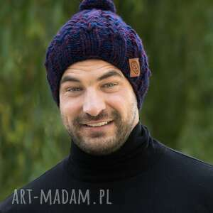handmade czapki smile navy-bordo