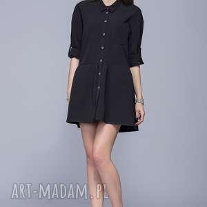 luźna sukienka h005 czarny - sukienka, luźna sukienka, sukienka na lato, kobieca