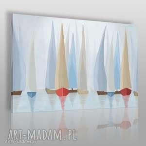 Obraz na płótnie - ŻAGLÓWKI REGATY PASTELOWY 120x80 cm (81801), żaglówki, żaglówka