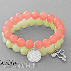 peach & cream jade set with pendants - moneta, jadeit