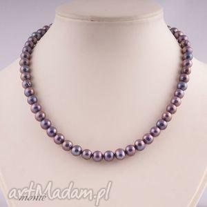 Klasyczny naszyjnik z naturalnych pereł - ,elegancki,naszyjnik,perły,srebro,biżuteria,
