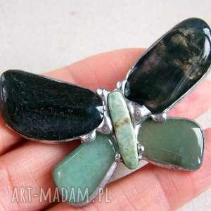 Broszka: Motyl zielony z mchem, broszka, motyl, agat, kamienie, awenturyn, mszysty