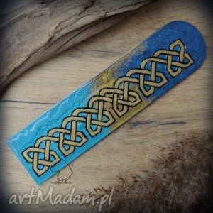 Drewniana malowana zakładka do książki Celtyckie węzły , celtycka, plecionka