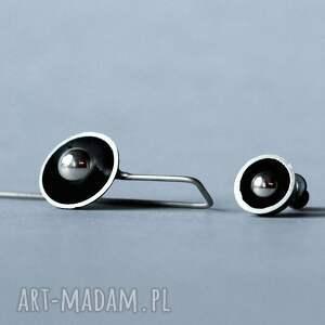 asymetryczne kolczyki srebrne, minimalistyczne kolczyki, geometryczne