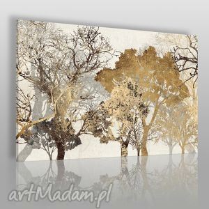 obraz na płótnie - drzewa brąz 120x80 cm 18102, drzewa, stonowany, abstrakcja