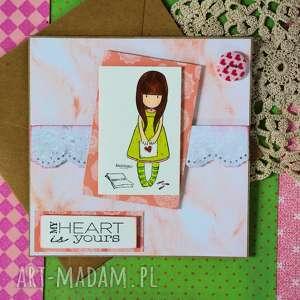 ręczne wykonanie kartki kartka - my heart is yours (moje serce jest twoje )