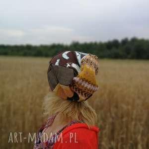 Czapka damska ciepła zimowa patchworkowa czapki ruda klara