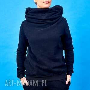 handmade bluzy bluza z komino - kapturem czarna