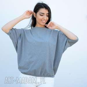 bluzki szeroka luźna bluzka nietoperz oversize szary, bawełna, dzianina, eko