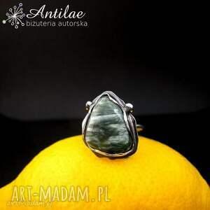 Pierścionek z serafinitem, srebrny pierścionek, serafinit, rozmiar 15, serafinit