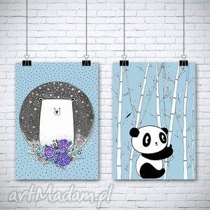 zestaw dwóch prac a3 - miś, misio, misiek, panda