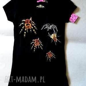 hand-made bluzki t shirt z pająkami nadruk autorski