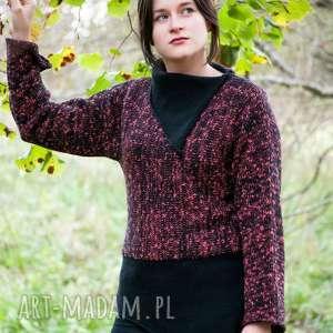 czarno-różowy sweter, wełna, oryginalny, swetry