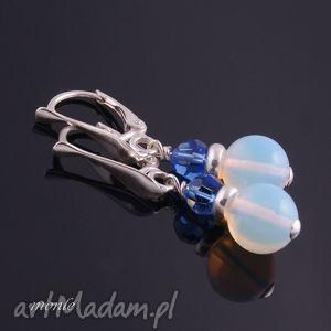 Zmrożone, kolczyki z opalu - ,białe,kolczyki,opal,swarovski,srebro,biżuteria,