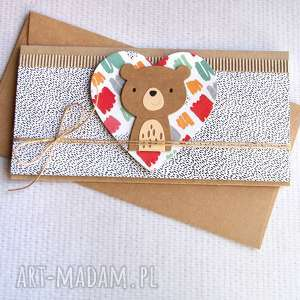 hand-made kartki miś bartuś: kartka kopertówka