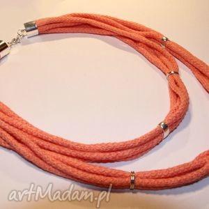 naszyjniki łososiowy naszyjnik ze sznurków bawełnianych z elementami metalowymi
