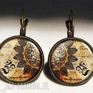 mandala - duże kolczyki wiszące, mandala, orientalne, kolczki, rozeta