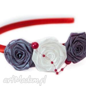 opaska dla dziewczynki z różyczkami - fioletowe ozdoby do dziewczynka