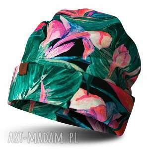 ekoszale czapka beanie jesienno-zimowa akwarele, bawełna, drukowana, dresówka