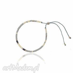 Bransoletka Minimal - Grey and Silver, bransoletka, minimal, delikatna, koralikowa