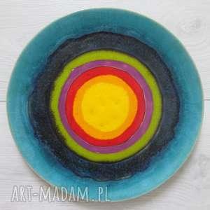 ceramika energetyczna patera ceramiczna, dekoracyjny talerz, tęczowy talerz