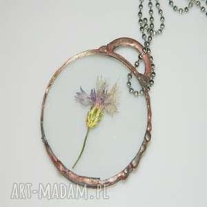 szklany wisior-oset, miedziany, miedziany-wisior, unikalna-biżuteria