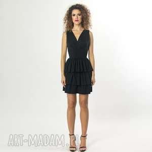 sukienki sukienka koktajlowa bez pleców, falbany, elastyczna, koktajlowa