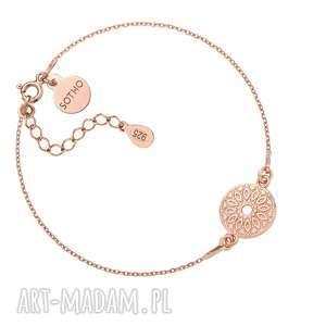 bransoletka z różowego złota medalionem, różowa, medalion, moneta, mandala
