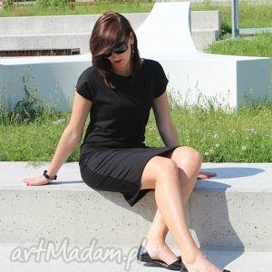 sukienka dresowa ołowkowa klasyczny krój, sukienka, dresowa, bawełna, czarna