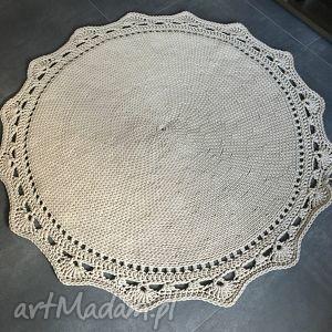 dywan ze sznurka baweŁnianego beŻowy 145 cm - dywan, chodnik, sznurek, handmade