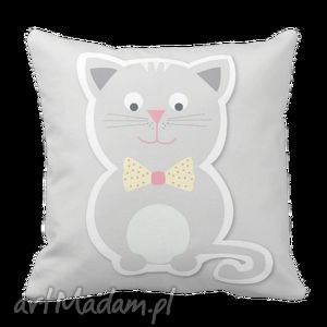 Poduszka szary Kotek dla dzieci dziecięca 6085, kot, kotek, szary, minimalistyczna
