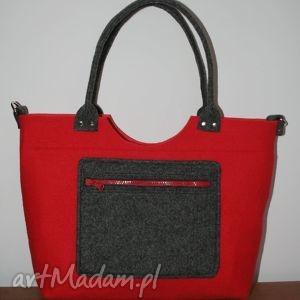 Torba, torebka filcowa, czerwona, torba, torebka, filc