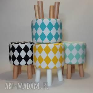 pufa żółty arlekin - 36 cm białe nogi, puf, taboret, hocker, vintage, stołek