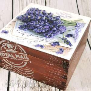 szkatułka - lawendowe listy, szkatułka, pudełko, drewniane, drewniana, lawenda