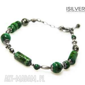 jaspisy cesarskie green ii bransoletka, prezent, jaspis, srebro, bernaś