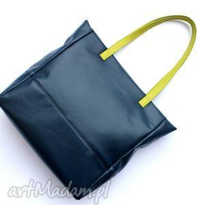 Prezent Shopper Bag - granat i rączki limonka, elegancka, nowoczesna, prezent
