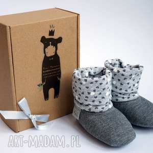 handmade buciki bambosze z golfem / hand made / ciemnoszare serca