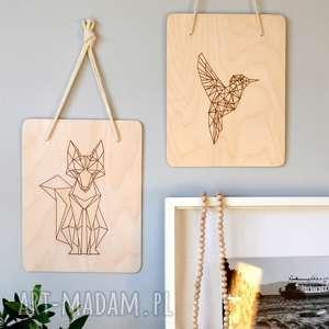 Geometryczny lis, ptak, geometryczny, zwierzęta