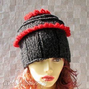 Fantazyjna Czapka wykonana recznie., czapka, zima, kobieta, trendy, ręcznie, robiona