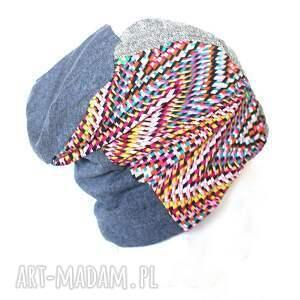 unikalny prezent, czapka damska patchworkowa, czapka, etno, patchwork, ciepła, boho