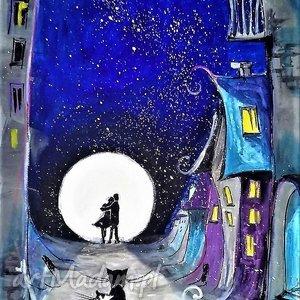 Grafika akwarelami i piórkiem Niebieskie miasto artystki Adriany Laube, kot,