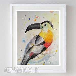 tukan ii - obraz akrylowy formatu a4, akwarela, tukan, ptaki, papier
