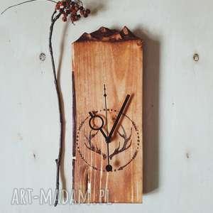 ręcznie robione zegary drewniany zegar ścienny góry i pirografia