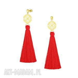 długie kolczyki z czerwonym chwostem - boho - sztyfty pozłacane